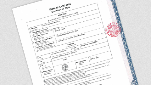 Authentication Certificate (Apostille) - $70 - Sacramento